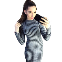 Buy Women Striped Sexy Bodycon Dress Bright Silk Elastic Long Sleeve Maxi Casual Dress Long Sexy Dress Vestido Longo HCH401 for $17.81 in AliExpress store