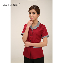New Summer Cleaning Clean Short-sleeved Work Uniforms Collar West Cleaning Service Staff Men and Women Cleaning Service Uniforms(China)