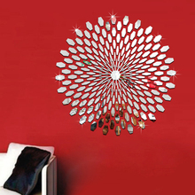 Acrylic 3D Mirror Wall Stickers Sunflower Sticker Decors for Family Decoration Mordern Adesivo De Parede Art Decals(China)