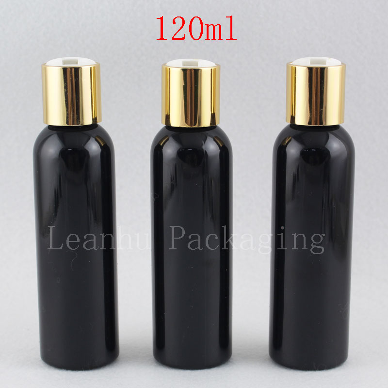 120ml black bottle with gold disc top cap (1)