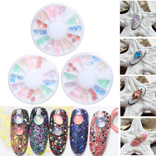 36Pcs/box Professional Multicolor Cats Eye Stone Jelly Resin Drill Round Rhinestone UV Gel DIY Nail Art Decoration