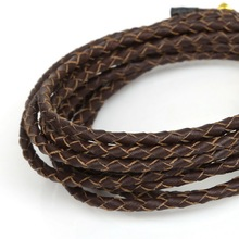 New product 2M/lot 3mm Diameter Multicolor Round Genuine Rope String Braided Leather Cord For DIY Bracelet & Necklace(China)