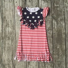 July 4th boutique clothes gift princess baby girls kids summer fringe tassels outfits cotton dress star print navy red striped(China)