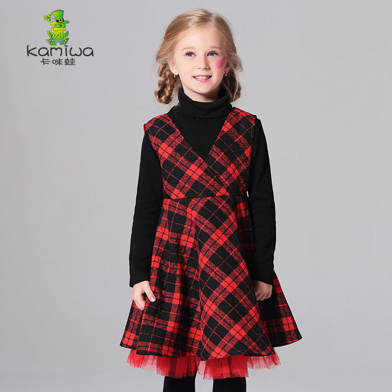 KAMIWA Toddler Baby Girls Dresses 2017 Spring Plaid Printing Lace V-neck Sleeveless Teenage Childrens Clothing Kids Clothes<br>