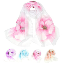 1PC Fashion Women Beautiful Flower Scarf Wrap  Soft Prevent Sun Summer Shawl Chiffon Neck Circle Voile Scarves
