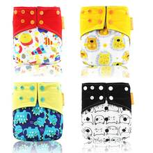 Happy Flute OS Cloth Diaper Bamboo Charcoal Pocket Diaper Christmas Baby Nappy Cloth Nappy 1 pcs Pack(China)