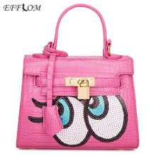 Womens Bags Famous Brand Luxury Mini Tote Bags Cute Sequin Applique Girl Small Handbag Crocodile Leather Crossbody Hand Bag Pink