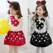 Kid Girl's Clothing Sets Children Summer Sweet Polka Dot Spring Skirt+T-shirt Baby Girls Skirt Outfits 2017 Kid's Clothes Suits(China)