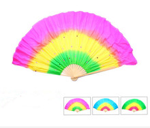50cm Sequine Belly Dance Fan Veils  Short Hand Bamboo Folding Fan For Belly Dancer Practice Gradient Color Free Shipping
