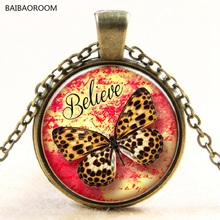 Leopard Butterfly glass pendant necklace jewels in time Europe and the new(China)
