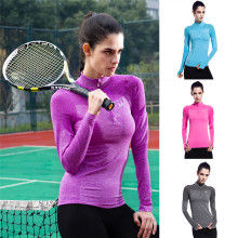 Women Running Tight Jacket 2017 Yoga Long-sleeved Shirt Quick-drying Breathable Fitness Clothing Top Tennis Sports Zipper Jacket