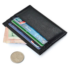 Vintage Slim Mini Leather Credit ID Card Holder Wallet Purse Bag Pouch Book Cover Case men's wallet card holder wallet men Black