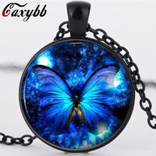 Blue Butterfly Pendant Necklace fashion vintage Glass pendant dome Cabochon Round Pendant steampunk necklace Jewelry N-921