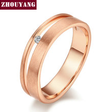 Top Quality Simple Wire Drawing Process Rose Gold Color Lover's Ring Austrian Crystal Full Sizes Wholesale ZYR433 ZYR434(China)