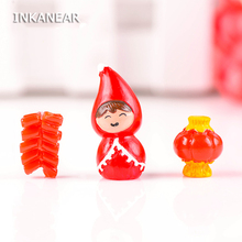 Resin Craft Mini Doll Fireworkers Lanterns Micro Fairy Garden Figurine Miniature/Terrarium Decoration Ornament DIY Accessories(China)