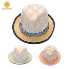 Kids Straw Hat Solid Boys Girls Panama Hats 5 Style Kids Straw Beach Cap Summer Bow Infant Beanies 2017 Children Accessories 10Y(China)