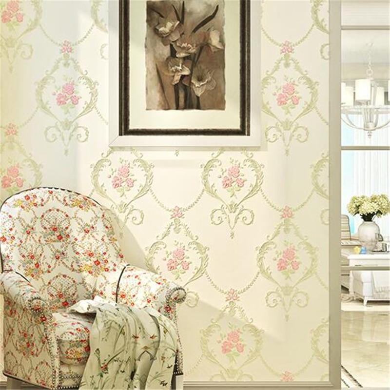 beibehang Warm European garden non-woven wallpaper living room bedroom wedding room wallpaper background deep embossed wallpaper<br>