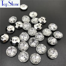 Topstone 100pcs 15mm Round Sew On Buttons Rhinestone Crystal Clear Acrylic Button For DIY Sewing Clothing Coats Decoration