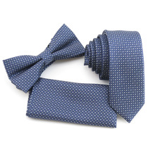 neck tie for big boys navy ties for men's 5cm narrow tie white dot necktie design bowtie and pocket square