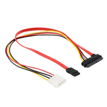 1Pc SATA 22Pin Combo to 15 Pin Power + 7 Pin Data Cable 4 Pin Molex to Serial ATA Lead EM88