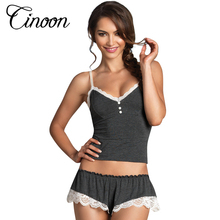 CINOON Sexy Pijamas Camisole & Panties Sets V-Neck Cotton Bundle Pajamas Women's Sleepwear Spaghetti strap lace Underwear(China)