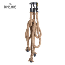 Tomshine Triple E26 Holders 3 Heads Hemp Rope  Light Ceiling Lamp Creative Personality Industrial Vintage Country Style