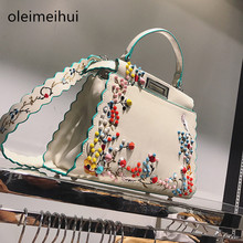 2017 Hot Brand fashion woman handbags cat  Peekaboo Bag Embroidery rivet female tote bag plain leather shoulder cross body bag