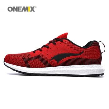 Nueva llegada 2017 hombres zapatos corrientes onemix tejido transpirable zapatos de deporte de primavera zapatos para caminar de los hombres envío gratis