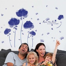 New Fashion virtual Creative Blue Flowers romantic Wall Stickers For Living Room DIY Wall Sticker Home Decor adesivo de parede