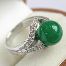 lady's beautiful new design jewelry silver plated with crystal decorated &12mm  green  jades ring(#7.8.9)