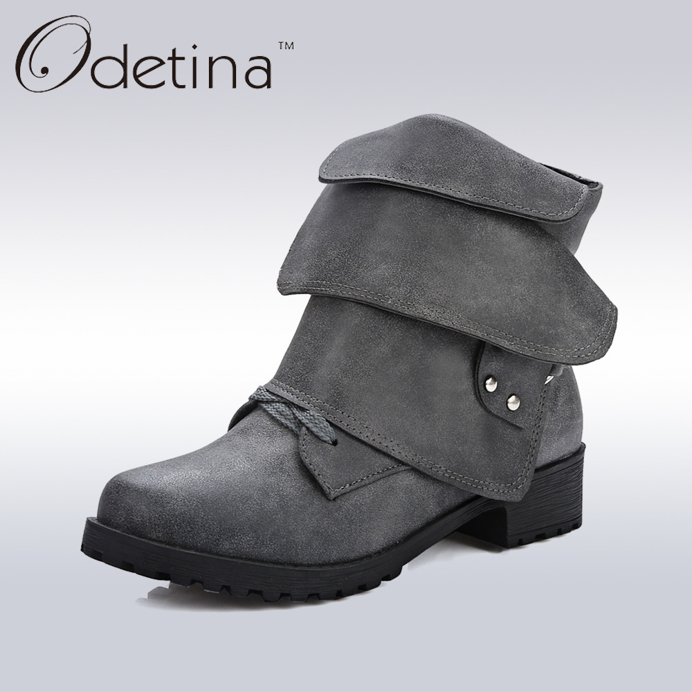 Odetina 2017 New Spring Womens Large Size Boots Designer Ankle Boots Buckle Women High Quality Lace Up Fashion Shoes Med Heel<br>