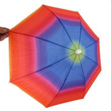 Random Color Portable 31cm Useful Rainbow Umbrella Hat Awning Camping Fishing Hiking Outdoor Shade Rain Hat YL874784(China)