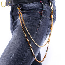 U7 Heavy Gold Color Waist Biker Chain Key Wallet Belt Rock Punk Trousers Motorcyle HipHop Pant Jean Chains For Men Jewelry J004(China)