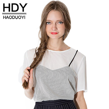 HDY Haoduoyi Fashion Striped Basic Tops Women Short Sleeve Female Chiffon Tops Elegant Sweet Patchwork O-neck Casual T-shirt