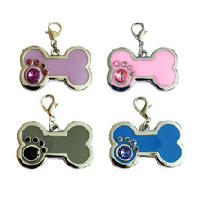 Lovely Pet New Pendant Pet Dog Cat ID Collar Round Charm Bone Glitter Disc Disk Dog Cat Tag Drop Shipping Free Shipping 70811