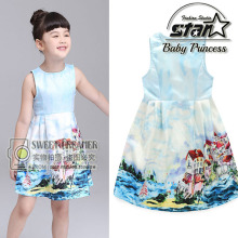 Kids Summer Dress Brand Princess Dresses Girl Painting Design Sleeveless Kids Dresses for Girls Childrens Party Clothes