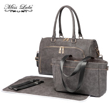 Buy 1 Get 1 at 20% Off Miss Lulu 3 Piece Baby Nappy Diaper Changing Bag Set Shoulder Handbag Grey Leather Maternity Tote LT6638(China)