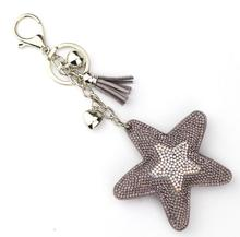 2017 Fashion Jewelry Cute Women Key Chain key Cover Rhinestone Inlaid Leather tassel star fish Key Cap Gift Colors wholesale(China)