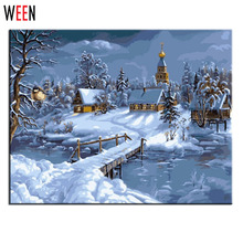 Snow Lanscape Wall Art Oil Painting By Numbers On Canvas Cuadros Wall Pictures For Living Room Coloring By Numbers