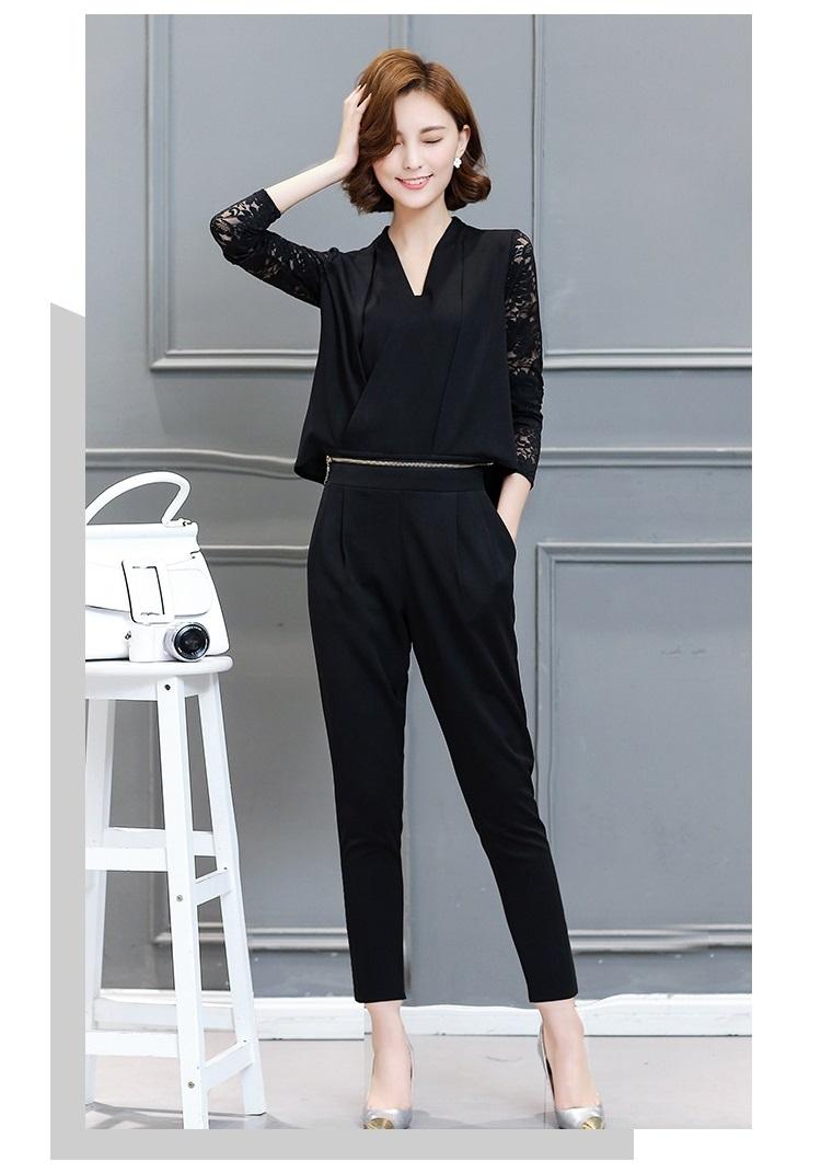 Women Leisure Set Autumn Dress New lady Slim Two Pieces Suits Blouse+Pants Fashion Long Sleeve V Collar Ladies Suits A112 YAGENZ 16