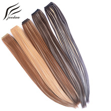 "jeedou Straight Synthetic Clip in Hair Extensions One Piece 5clips Black Brown Blond Mix Color 24"" 60cm 130g Party Hairpieces"