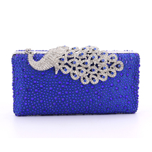 4 Color Elegant Fashion Women Bags Peacock Metal Diamonds Evening Bags Small Purse Handbags With Chain Shoulder Bags