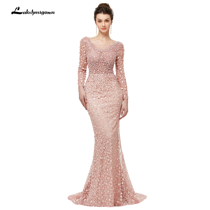 Pink Pearls Crystal Lace Evening Dresses Women Maxi Evening Party Gown Floor-length Trumpet Evening Gown 2018