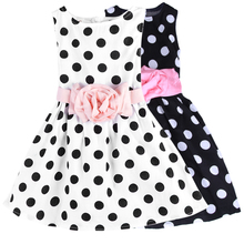 Summer Festival Super Flower Girls Dresses for Party and Wedding Dot Print Princess Kids Dress Fashion Children's Clothing