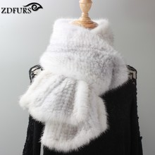 2016 Women Knitted Mink Fur Scarf 100% Real Fur Muffler Luxury Genuine Mink Neck Warmer Women Fur Stole Women's Shawl 4 Colors(China)