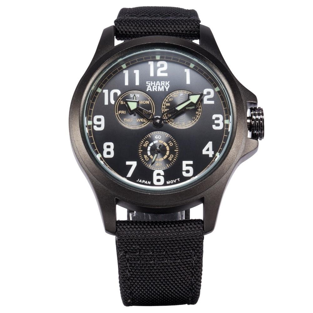 Shark Army Luxury Brand Watch Men Auto Date Day Display Wristwatch Nylon Fabric Horloges Mannen Military Quartz Watch / SAW129<br>