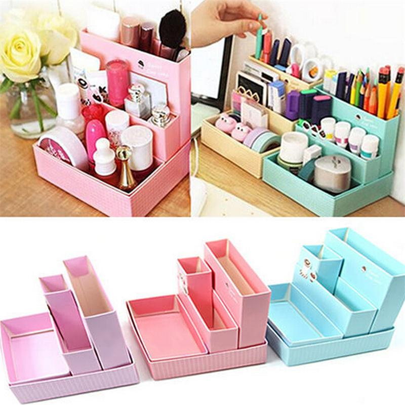 DIY Paper Board Folding Multifunction Make Up Storage Box Container large capacity Desktop Box Cosmetics Organizer