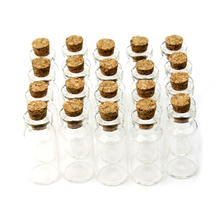 """Best Price Mini Clear Cork Vial 20 Pcs 16x35mm 2 ml Tiny Transparent Cork Glass Bottles Vials 2ml Beading Kits Brand New """