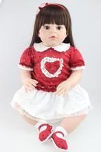 "Large size 28"" 70CM silicone reborn toddler dolls lifelike real girl soft touch brown long hair  boneca Infant mannequins"