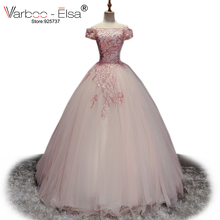 VARBOO_ELSA Cute Romantic Evening Dress 2018 Princess Pink Tulle Ball Gown Dress Lace Appliques Sexy Boat Neck Prom Dress Custom(China)